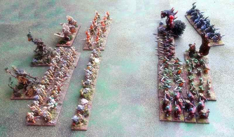 armée elfe et orc pretes à combattre